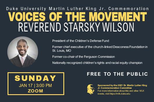 Duke MLK commemoration keynote speaker: Rev. Starsky Wilson